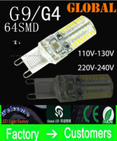 G9 G4 ampoules LED 3W 3014 SMD 64 LED AC 110V-130V 220v-240V Lampe à lèvres LED Light Dimmable Non-dimmable 360 ​​Beam Angle DHL ship