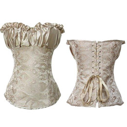 Wholesale Day Corset Tops - S5Q Sexy Women Wedding Creamy Ivory Renaissance Satin Corset Lace Up Bustier Top AAABQH