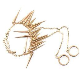 Wholesale Chain Double Finger Ring - S5Q Punk Rock Multi Rivet Spike Bracelet Bangle Hand Chain Link Double Finger Ring AAAAZT