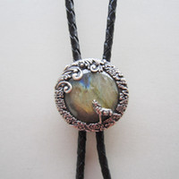 Wholesale Nature Tie - Wholesale Retail Antique Silver Plated Nature Labradorite Stone Moon Wolf Bolo Tie BOLOTIE-012SL Factory Direct In Stock Free Shipping