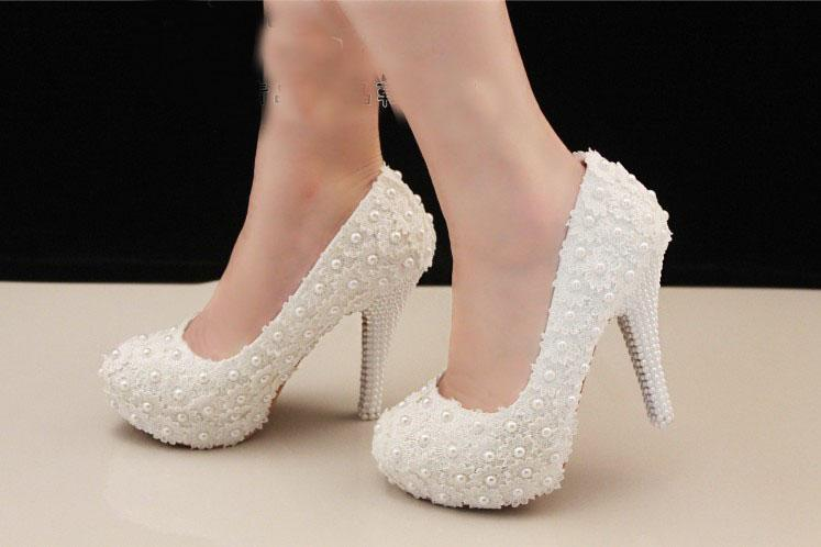 Wedding White High Heel Bridal Dress Evening Party Prom Shoes Bridesmaid Shoes Gorgeous Formal Dress Shoes