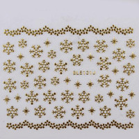 Wholesale Nail Decals Ble - Wholesale - NEW 16 Designs Christmas Sticker Xmas Snowflakes Design Gold Silver White 3D Nail Art Decals BLE Nail Stickers SKU:XB0426