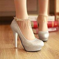 Wholesale Wedding Heel Gold Strap Diamonds - 2016 Bridal shoes diamond wedding red high-heeled waterproof shoes wedding shoes bridesmaid pumps Gold Silver Round