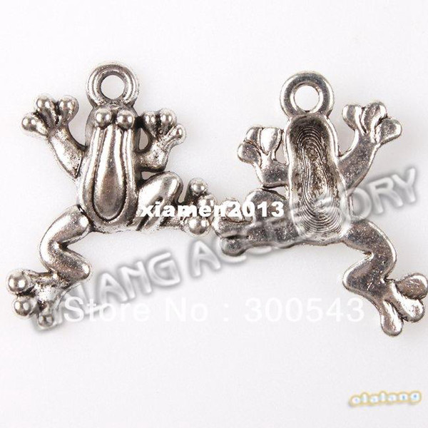 150pcs/lot Wholesale Plated Silver Animal Frog Shape Fashion Charms Jewelry pendants For Jewelry Making 21x16x3mm 145072