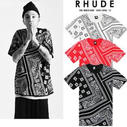 Camisa preta do impressão do bandana on-line-Allover Paisley Rhude Bandana Impressão Graphic Tee Camiseta Preto Branco Vermelho Tyga Hip Hop