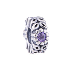 Wholesale Violet Bead Bracelets - S925 Sterling Silver Twice as Nice Violet Charm Bead with Purple Crystal Fits European Style Jewelry Bracelets Necklaces & Pendants