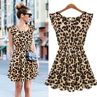 Wholesale Sleeveless Skater Dress - Retail free shipping Sexy Women Ruffles Leopard Print Casual Party Tunic One Piece Novelty Skater Swing Mini Dress Sundress