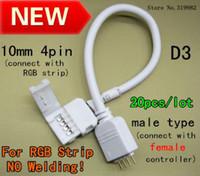 tiras de soldadura al por mayor-no hay cable del conector de soldadura para 5050 RGB Tipo de tira macho 10 mm 4 pines LED RGB No es necesario soldar el cable de conexión del cable, envío gratuito 10pcs