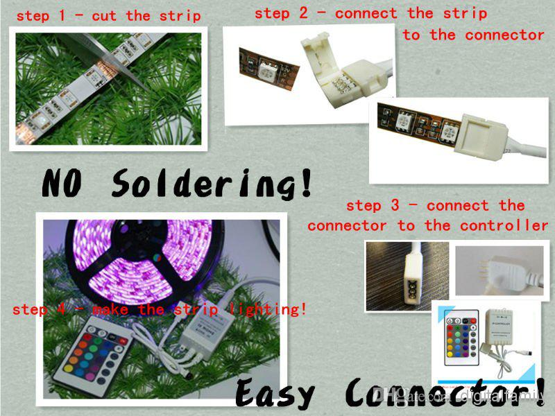 sin soldadura Cable conector para 5050 RGB Strip Tipo macho 10mm 4pin LED RGB No necesita soldar Cable de cable conector, envío gratis 10 piezas