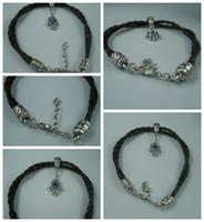 Wholesale Leather Braided Evil Eye Bracelets - MIC - 30Pcs Black Leatheroid Braided Fatima Hand Evil Eye Charms Bracelets 16cm - 21cm