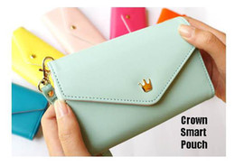 Wholesale Crown Smart Pouch Wallet Case - Crown Smart Pouch 2013 Hot!!7 Colors PU Leather mobile phone case mobile phone bag card case pu wallet 150pcs Lot Free Shipping