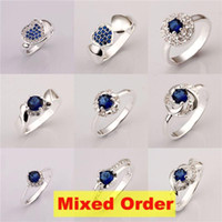 Wholesale Blue Sapphire Ring 925 Silver - 20pcs lot 10 models mixed order Sapphire Color Navy Blue Zirconia Bijouterie 925 Sterling Silver Plated Rings #FR144