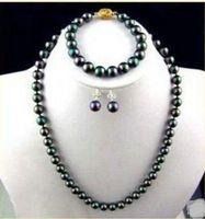 14k pendientes de perlas negras al por mayor-8-9mm tahitian natural collar de perlas negro pendiente de la pulsera 14k + envío gratis