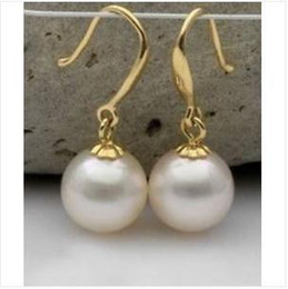 Wholesale Loose South Sea White Pearls - PAIR OF 9-10MM PERFECT ROUND SOUTH SEA GENUINE WHITE LOOSE PEARL EARRING 14K