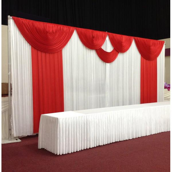 Beautiful pure silk wedding backdrop curtain with red swag and decor please note the listing is for the curtain only no posts lightswreath accessories or stands included junglespirit Image collections