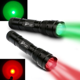 Wholesale Tactical Red Led Flashlight - 2PCS UltraFire WF-502B CREE Q5 1-Mode 250 Lumens LED Flashlight Red Light+Green Light 18650 for Fishing, Hunting Free Shipping