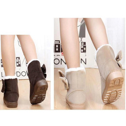 Wholesale Brown Suede Ankle Boots Flat - S5Q Women Lady Snow Boots Winter Soft Warm Bowknot Flat Heels Solid Mid-calf Shoes AAACOD