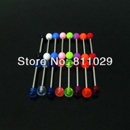 Wholesale Tongue Piercings Sale - On sale wholesale 100pcs 1.6*16*5 5mm tongue ring mixed colors plain ball UV acrylic piercing tongue barbell free shipping