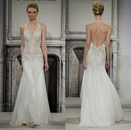 Wholesale Custom Pnina Tornai Wedding Dresses - Pnina Tornai 2014 Exquisite Design See-Through Wedding Dresses Mermaid Halter Ivory Chiffon Appliques Beads Sweep-Train Bridal Gowns