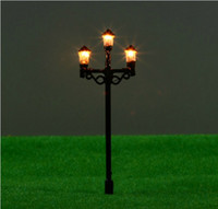 Wholesale Model Lamppost - 20pcs lot T50 1:100 6.5 cm double street lamp lamppost for train layout HO scale HO scale train layout model lamppost lamp