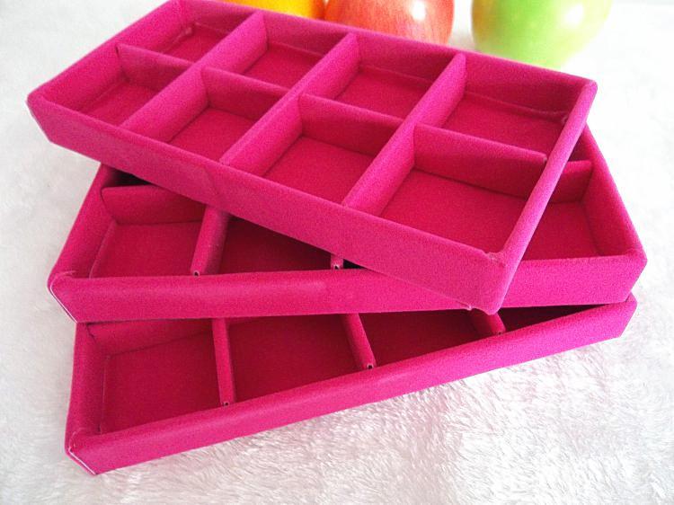 Kostenloser Versand Ice Velvet / 8 Grids Schmuck Organizer Fach Braun, Schwarz, Grau Rose roter Samt Schmuckkästchen Geschenkbox Fall