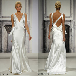 Wholesale Pnina Wedding Dresses Plus Size - SSJ Pnina Tornai 2014 Vintage Plus size Wedding Dresses Mermaid Deep V-Neck Ivory Satin Bow Teris Pleat Sweep-Train Bridal Gowns