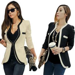 Wholesale Korean Lady S New Coat - S5Q New Korean Style Women Office Lady Contrast Color Coat Jacket Blazer Outwear AAABOO