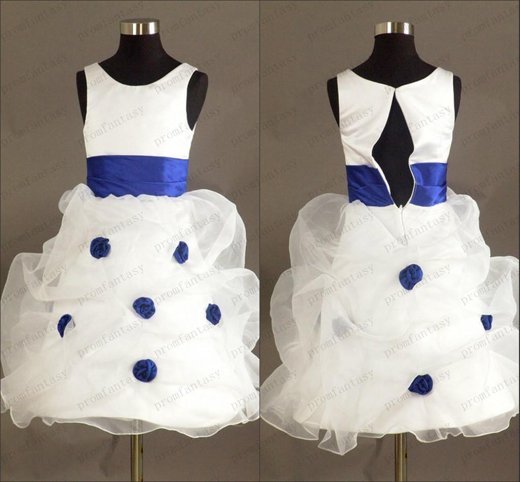 2014 Short Satin And Organza Jewel Neckline Cheap Flower Girls Dresses Royal Blue Hand Made Flowers Accents Beach Bridal Party Gowns Girl
