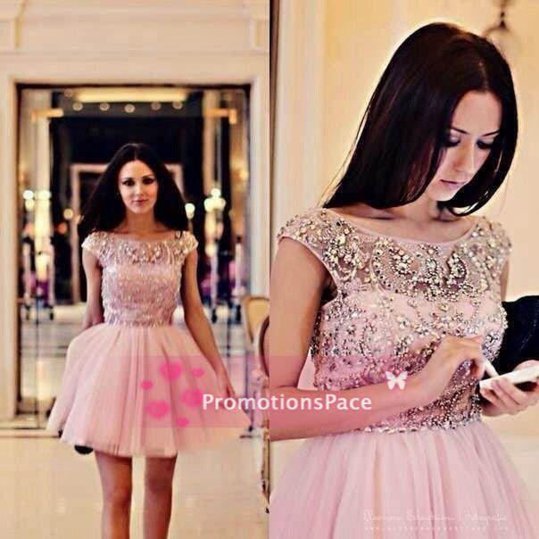 SSJ2015 Ball Gown Cocktail Klänningar Sexig A-Line Jewel Beaded Crystals Tulle Summer Short Prom Klänningar Cap Sleeves Homecoming Dresses