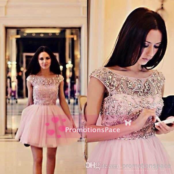 SSJ2015 vestido de bola vestidos de cóctel Sexy A-Line joya con cuentas cristales tul verano corto vestido de fiesta casquillo mangas vestidos de fiesta
