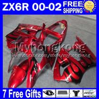 zx6r rojo al por mayor-rojo negro 7gifts Para KAWASAKI 2000 2001 2002 ZX6R NINJA Libre Personalizado MY7132 negro llamas ZX636 ZX-636 ZX-6R 00 01 02 ZX 6R 636 Ki carenado
