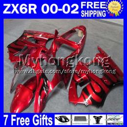 Carenado para kawasaki ninja rojo zx6r online-rojo negro 7gifts Para KAWASAKI 2000 2001 2002 ZX6R NINJA Libre Personalizado MY7132 negro llamas ZX636 ZX-636 ZX-6R 00 01 02 ZX 6R 636 Ki carenado