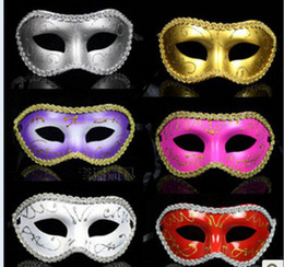 Mujeres Hombres Máscara Mardi Gras Party Masquerade Halloween COSPLAY Vestimenta Ball Performance Unisex Colored Drawing Masks Christmas Wedding