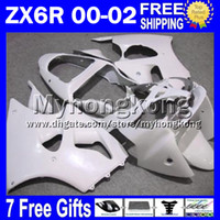 Wholesale Glossy White Yamaha - 7gifts Free Customized glossy white For 00 01 02 KAWASAKI ZX 6R 636 ZX6R NINJA MY775 ZX-6R 2000 2001 2002 ZX636 all white ZX-636 Fairings