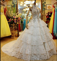 Wholesale Halter Neck Rhinestone Wedding Dresses - New arrival halter glitter beaded rhinestones church A-Line sweep train wedding dresses cascading ruffles sequins sleeveless bridal gowns