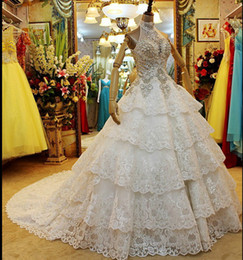 Wholesale Beaded High Neck Halter Gowns - New arrival halter glitter beaded rhinestones church A-Line sweep train wedding dresses cascading ruffles sequins sleeveless bridal gowns