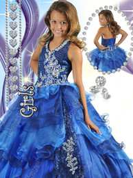 Wholesale Stone Color Dresses - Girl's Pageant Dresses with halter strapped deep V neckline covered in sparkling crystals and stones ball gown girls dresses R6459