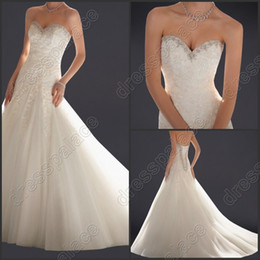$enCountryForm.capitalKeyWord Canada - 2014 New Sexy Strapless Sweetheart Sleeveless Backless A-Line White Satin Lace Wedding Dresses Veil 112222
