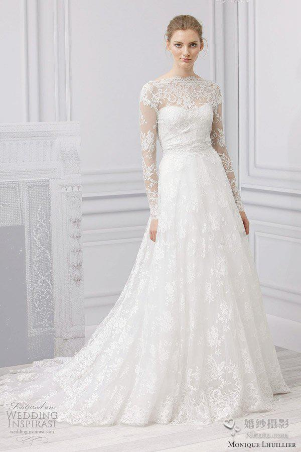 Discount 2014 Elegant Zuhair Murad Bridal Gown A Line Bateau Long ...