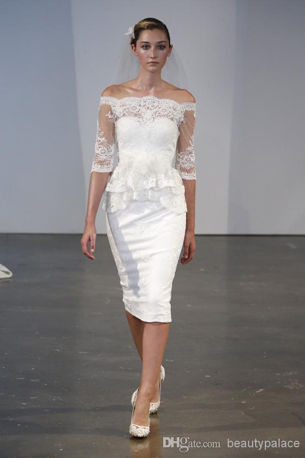 Beautiful Sheath Bateau Knee length Short Garden Wedding Dresses Half Sleeve Lace Beach Wedding Gowns Handmade Flowers Cheap Marchesa