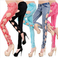 Wholesale Cutout Ripped Denim - Five Colors 2016 Classical Vintage Detailed Woman Side Bow Cutout Ripped Denim Sexy Jeans Jeggings pant trousers S M L