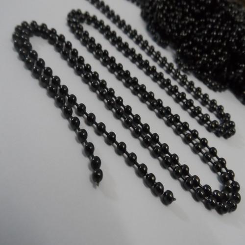 Noir plaqué 20 mètres en acier inoxydable boule chaîne de bijoux trouver 1.5mm / 2mm / 2.4mm / 3.2mm / 4mm en vrac