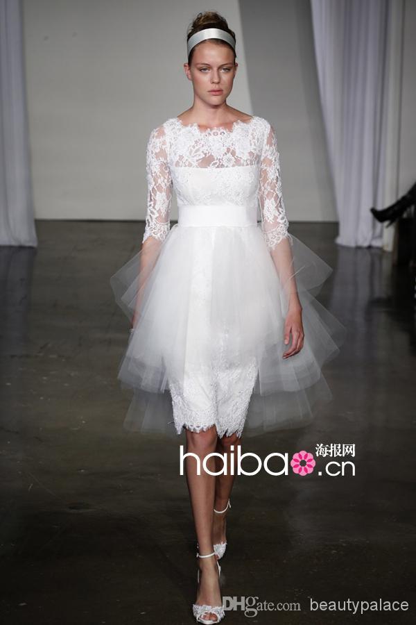 Envío rápido Funda de encaje blanco hasta la rodilla Vestidos de novia cortos de playa Vestidos de boda de media manga Vestido de novia Marchesa con envío gratuito