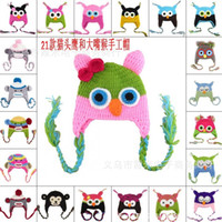 Wholesale Owl Earflap Hat - New Owl EarFlap Crochet Hat Baby Kids Wool Weaving Hat Different colors Free shipping