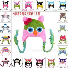 2019 chapéu do earflap da coruja New Owl EarFlap Chapéu de Crochê Bebê / Kids Tecelagem De Lã Chapéu Cores diferentes Frete grátis chapéu do earflap da coruja barato