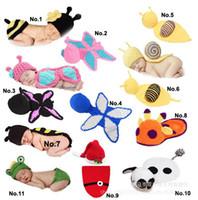 bebek el yapımı örgü tığ işi şapkaları toptan satış-Yeni varış El Yapımı Çocuk Şapka Yenidoğan Bebek Tığ Beanie Toddler Örme Hayvan Kapaklar Fotoğraf Sahne 5 adet Ücretsiz kargo