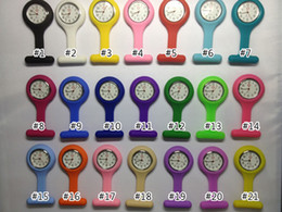 Wholesale Medical Pins - 100pcs lot Silicon Silicone Nurse Medical Watch Clip Pocket Watches With Pin 21 colors Doctor Watch DHL free shipping