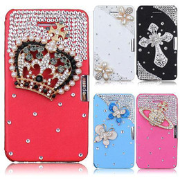 Wholesale Iphone 4s Flip Bling Cover - S5Q Magnetic PU Leather Flip Bling Crystal Hard Case Cover Protector For iPhone 4 4S AAACGZ