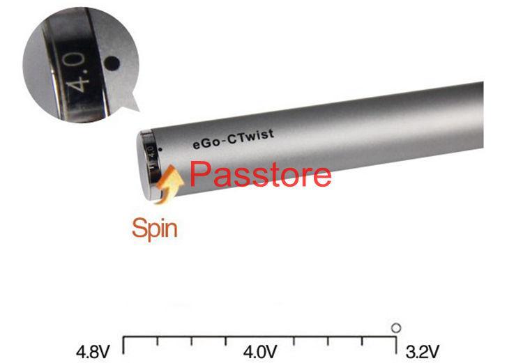 Batteria torsione eGo-c sigaretta elettronica Tensione variabile 3.2-4.8V 650mah 900mah 1100mah tutte le serie eGo Kit E senza sigarette