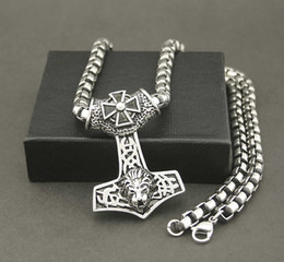 """Wholesale Silver Lion Pendants - Gothic Thors Lion Hammer Pendant Necklace Silver black tone 24"""" Heavy chain"""